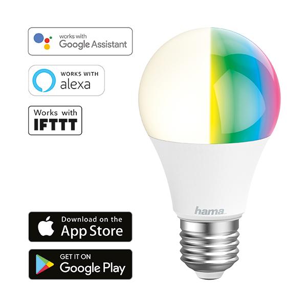 Lâmpada Wi-Fi LED da Hama − E27, 10W, RGB Imagem